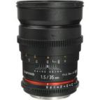 Samyang 35mm T1,5 VDSLR Cine lens. f. Canon